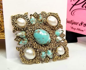 Toxique Tiki vintage large mint gold and pearl brooch