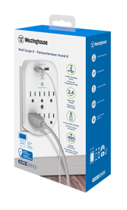 Westinghouse® Wall Surge 6. 6-Outlet 2 USB Wall Adapter, Case of 6