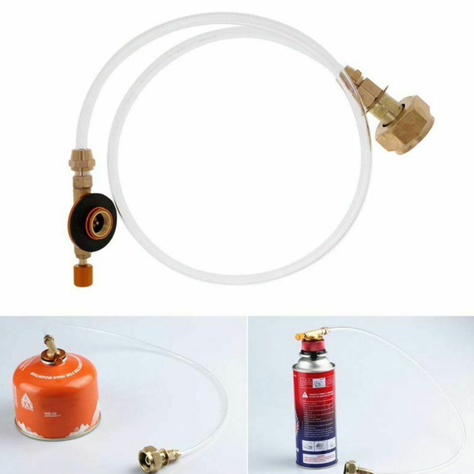 Propane refill adapter picnic camping stove gas hose double sided e F1L7