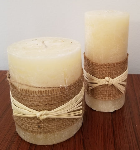 Candles - Short Pillar Candle, Honey Scented