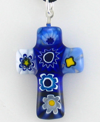 Jewelry - Cross of Faith Murano Glass Pendant (SMP30-1032)