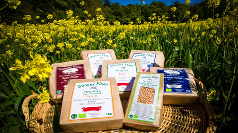 Dunany Organic Flour, grown, dried, milled & packaged in Dunany, Co. Louth. Producers of Wholemeal Fine Ground, Spelt, Rye, Wholemeal Extra Course, Organic Plane, Stone Ground Spelt and Spelt Berry Flour.