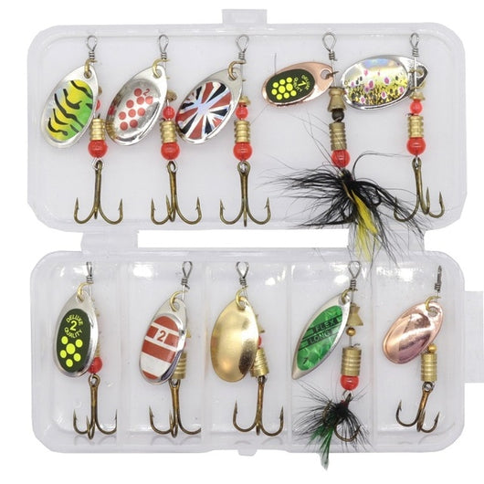 10 piece metal spinner lures with free box