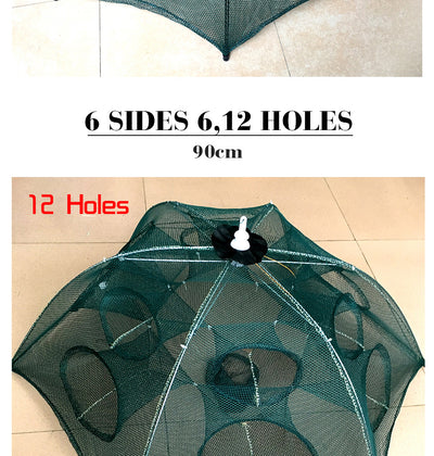 6 Side 12 Hole Folding Nylon Trap Fishing/Shrimp Net Cage