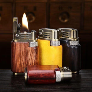 Handmade Custom Collection Automatic ignition Windproof Flame Kerosene To Bead Lighter Premium Wood Customizable Logo (Plus The Gift Box Is More High-grade)