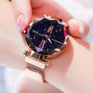 Star-studded magnetic ladies watch(buy a watch get a free bracelet)