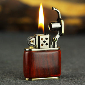 Handmade Custom Collection Premium Wood Reusable Windproof Flame Kerosene To Bead Lighter(Plus The Gift Box Is More High-grade