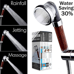 Shower Head 300% High Turbo Pressure 40% Water Saving Laser Ionic 3 Filter