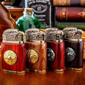 Handmade Custom Collection Bald Eagle Windproof Flame Kerosene To Bead Lighter Premium Wood Reusable(Plus The Gift Box Is More High-grade)
