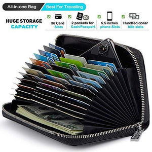 RFID Blocking Credit Card Holder Leather Long Business Cardholder Anti Theft Travel Wallet Retro by 36 Card slot