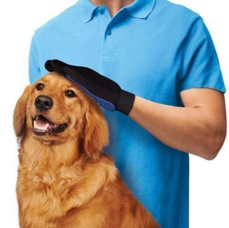 Pet grooming hair removal gloves
