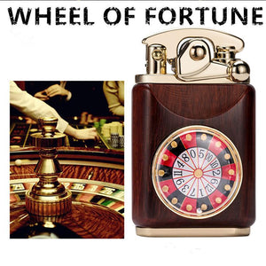 Handmade Custom Collection WHEEL OF FORTUNE Reusable Windproof Flame Kerosene To Bead Lighter Premium Wood Customizable Logo(Plus The Gift Box Is More High-grade)