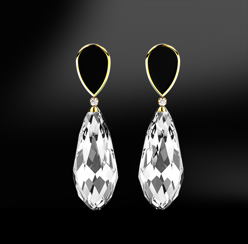 ONYX - DIAMOND - CRYSTAL QUARTZ Earrings