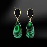 malachite black agate onyx diamonds silver gold elegant design drop earrings april birthstone