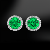 round emerald white diamonds halo platinum gold elegant art deco engagement wedding stud earrings may birthstone
