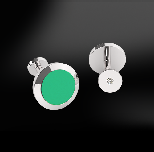 GREEN AGATE - DIAMOND Cufflinks
