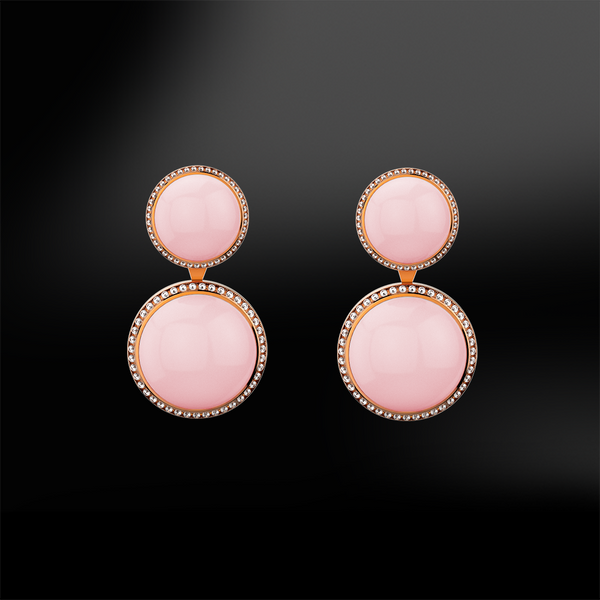 Pink QUARTZ - DIAMOND Earrings