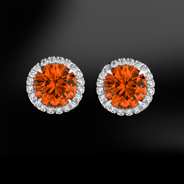 round spessartite garnet white diamonds halo platinum gold elegant art deco engagement wedding stud earrings january birthstone