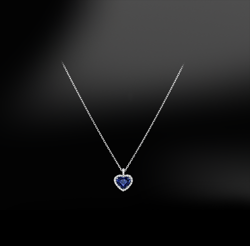 heart cut blue ceylon unheated sapphire white diamonds platinum gold engagement wedding pendant september birthstone