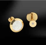 round mother of pearl diamonds men engraved silver gold design cufflinks april birthstone