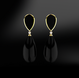 onyx silver gold design earrings birthstone
