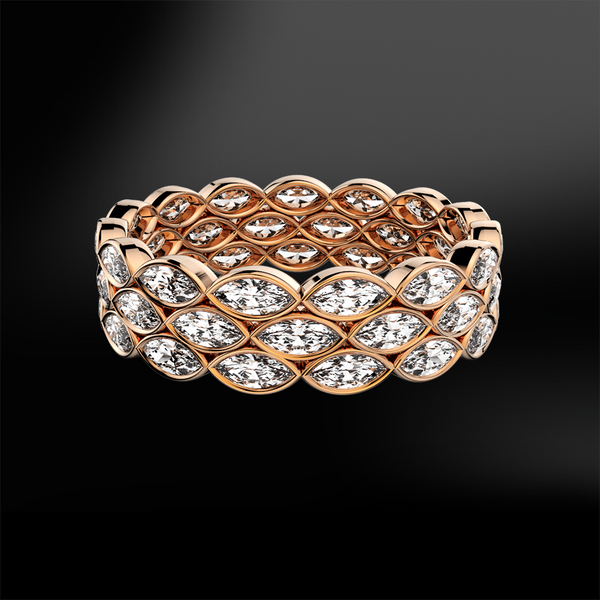 marquise diamond eternity rose gold ring