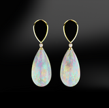 opal black agate onyx diamonds silver gold elegant design drop earrings october birthstone