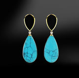 turquoise black agate onyx diamonds silver gold elegant design drop earrings october birthstone