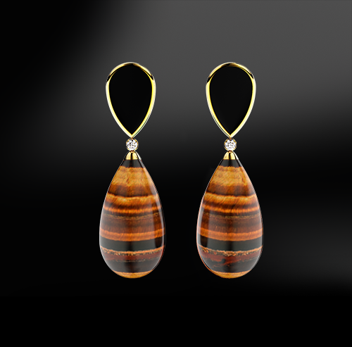 tiger eye black agate onyx diamonds silver gold elegant design drop earrings april birthstone