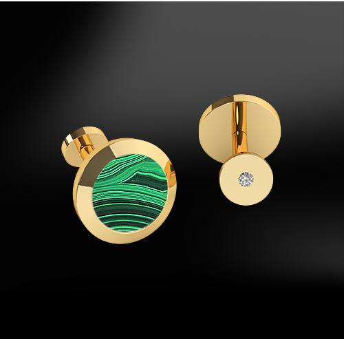 MALACHITE - DIAMOND Cufflinks