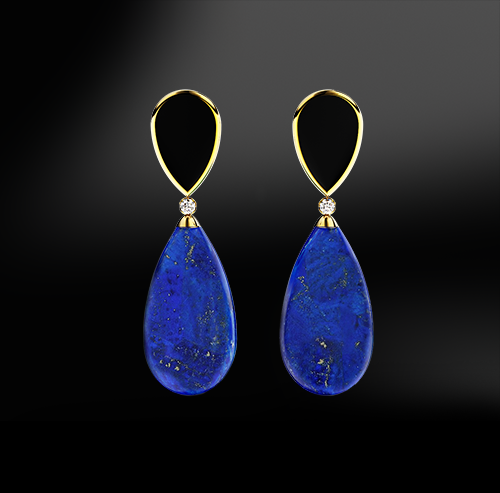 lapis lazuli black agate onyx diamonds silver gold elegant design drop earrings april birthstone
