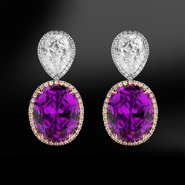 oval amethyst pear shape diamond wedding engagement gold earrings birthstone