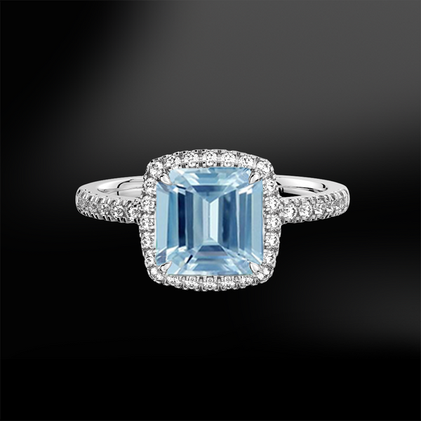 AQUAMARINE DIAMONDS SQUARE CUT GOLD RING