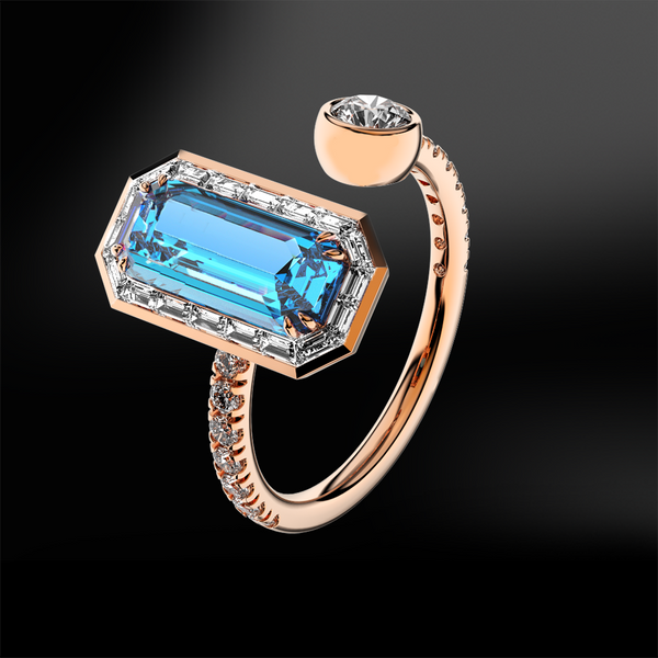 AQUAMARINE - DIAMOND Ring