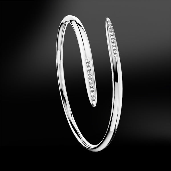 diamond silver white gold spiral bracelet spiral collection
