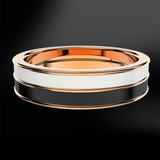 Snowflake & Black Enamel Rose Gold Ring