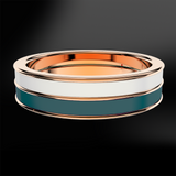 Snowflake & Teal Enamel Rose Gold Ring