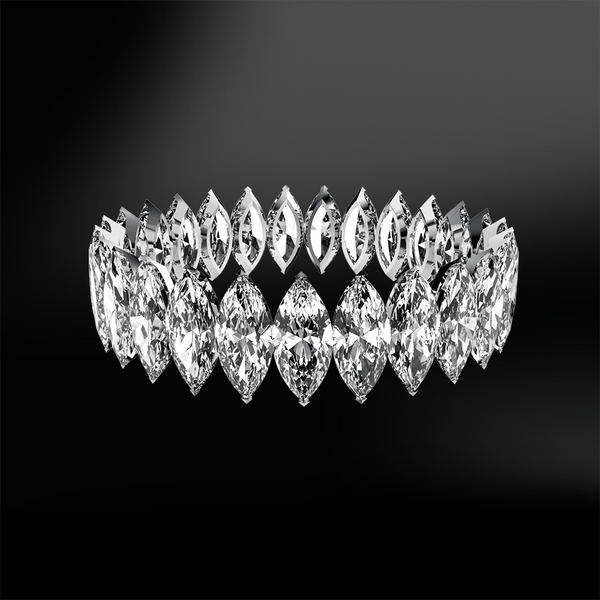 claw set marquise cut white GIA certified diamond wedding engagement gold eternity ring band