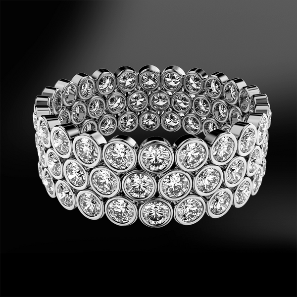 bezel set marquise cut white GIA certified diamond wedding engagement gold eternity ring band