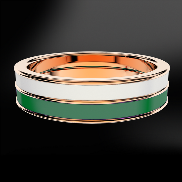 Snowflake & Emerald Enamel Rose Gold Ring