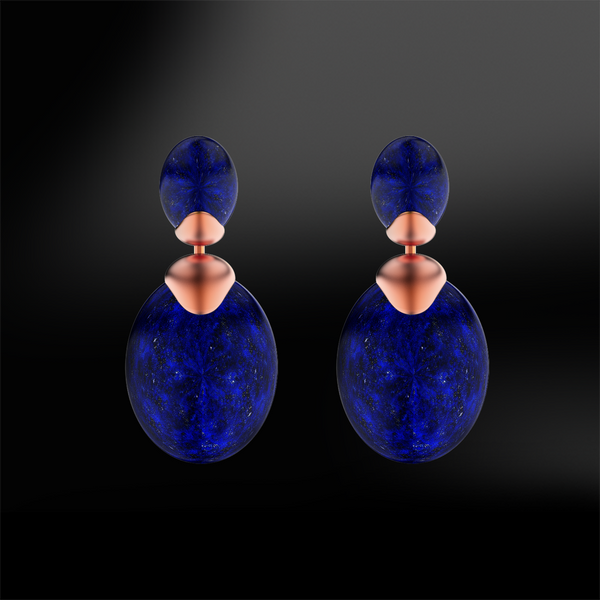 LAPIS LAZULI Drop Sanded Earrings