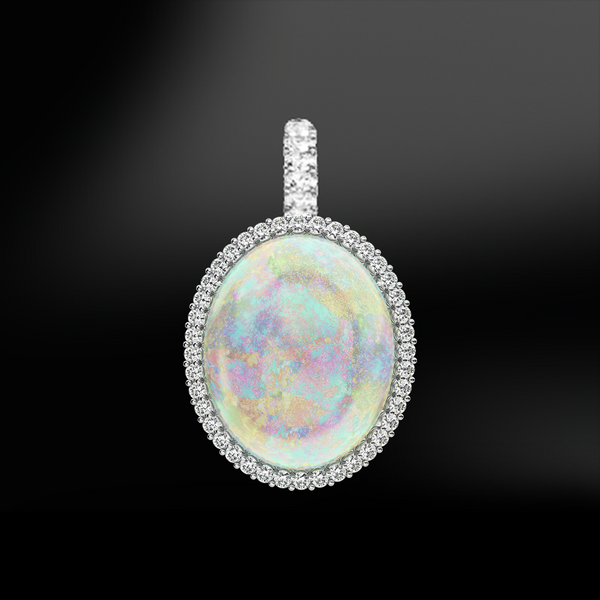 multicolor cabochon opal diamonds silver gold elegant art deco pendant october birthstone