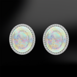 multicolor cabochon opal diamonds silver gold elegant art deco earrings october birthstone