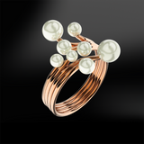 Multiple pearl rose gold ring