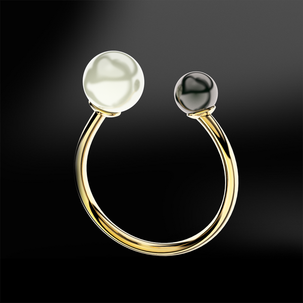 double pearl gold ring june birthstone