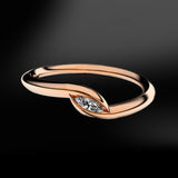spiral rose gold ring with diamond