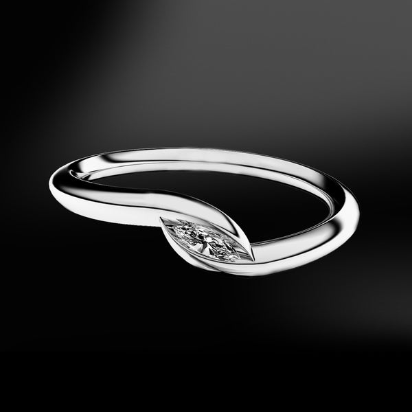 spiral claw white gold ring with diamond