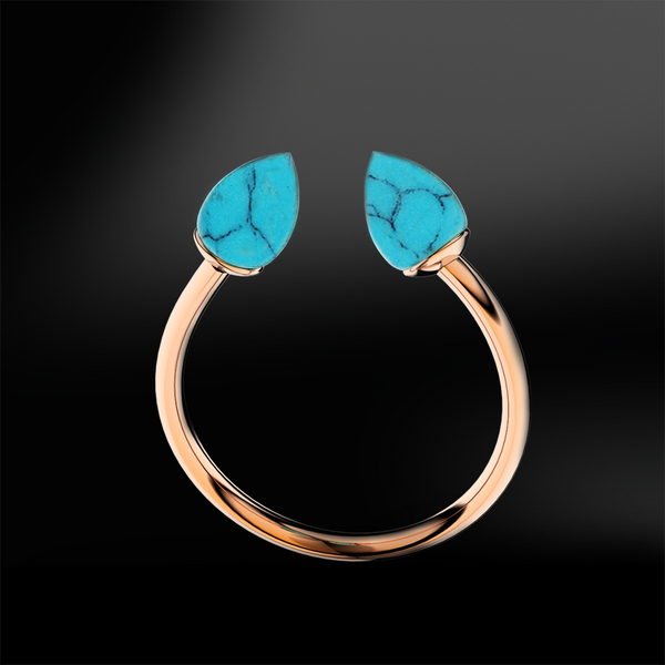 pointed turquoise gold ring