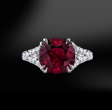 cushion ruby white diamonds halo platinum gold elegant art deco engagement wedding ring july birthstone