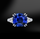 cuschion cut blue ceylon unheated sapphire white diamonds platinum gold engagement wedding ring september birthstone
